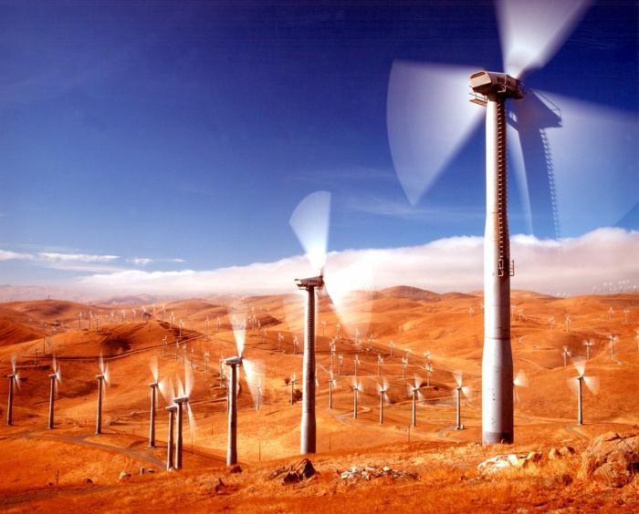 energieumwandlung windfarm wüste windenergie