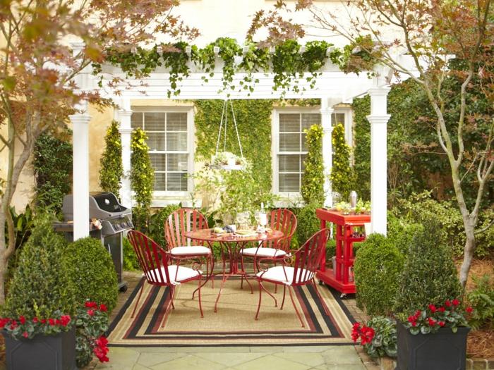 entspann dich gartengestaltung ideen farbig runder gartentisch pflanzen