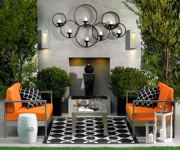entspann dich gartengestaltung ideen orange sessel pflanzen