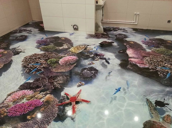 epoxidharz bodenbelag badezimmer meeresfauna korallen seesteren fische