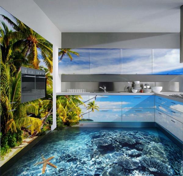 epoxidharz bodenbelag küche meeresfauna palmen