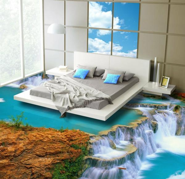 epoxidharz bodenbelag schlafzimmer wasserfälle dreidimenioniert