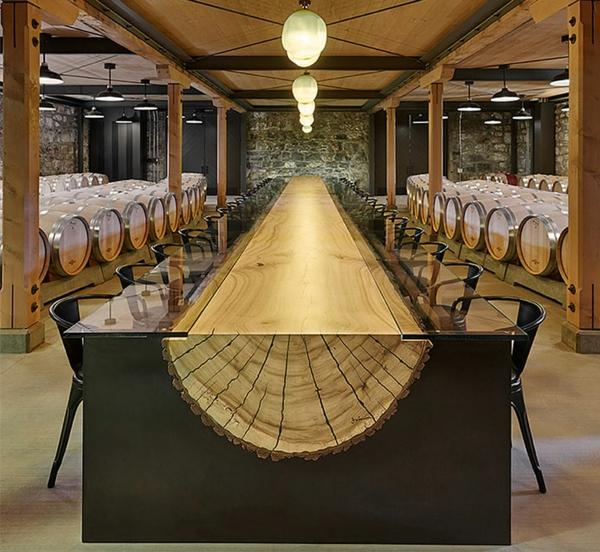 Esszimmertisch Mit Stühlen Holz Baumstamm Tisch