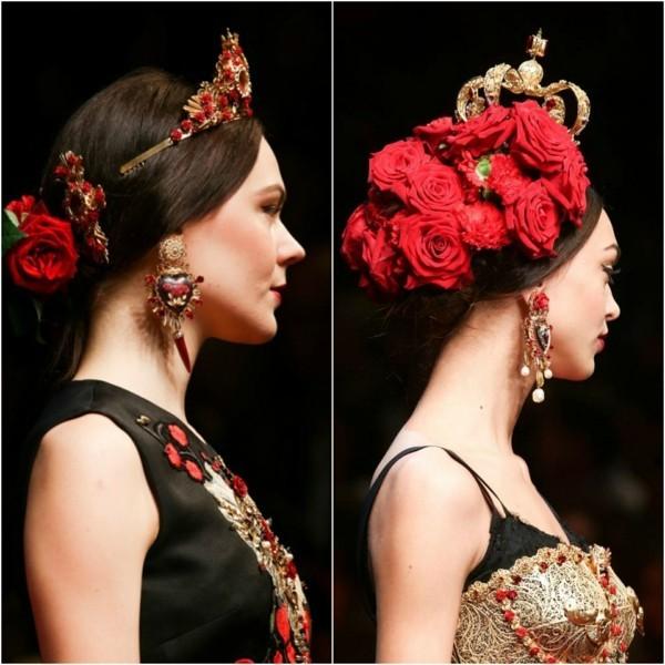 frisuren 2020 dolce gabbana haaraccessoires latino rote rosen