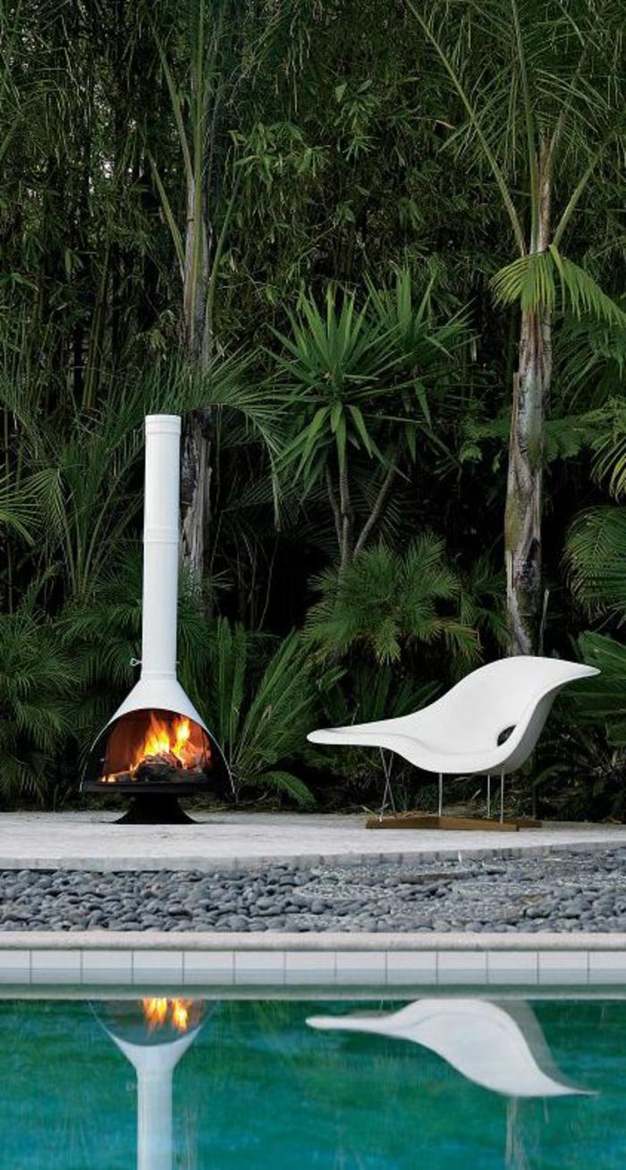 gartenkamin modernes design schwimmbad pflanzen