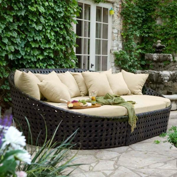 gartenset polyrattan kissen weiche polsterung sofa