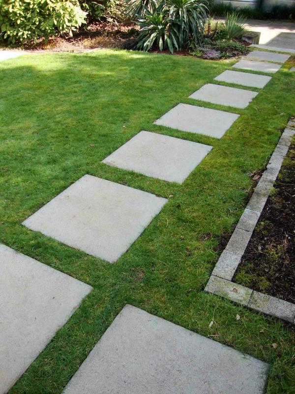 Schicke gartenwege aus naturstein oder zement f r den garten - Gartenweg ideen ...