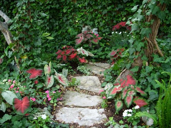 gartenweg natursteine garten gestalten pflanzen exterieur