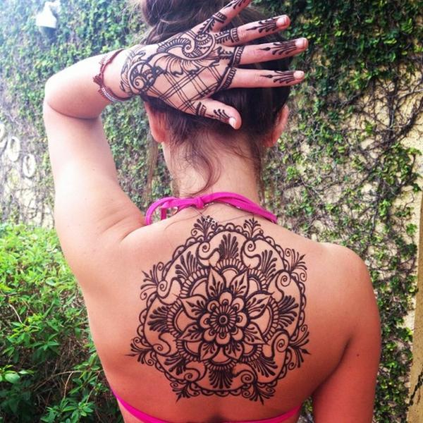 henna muster handdekoration rücken tattoo