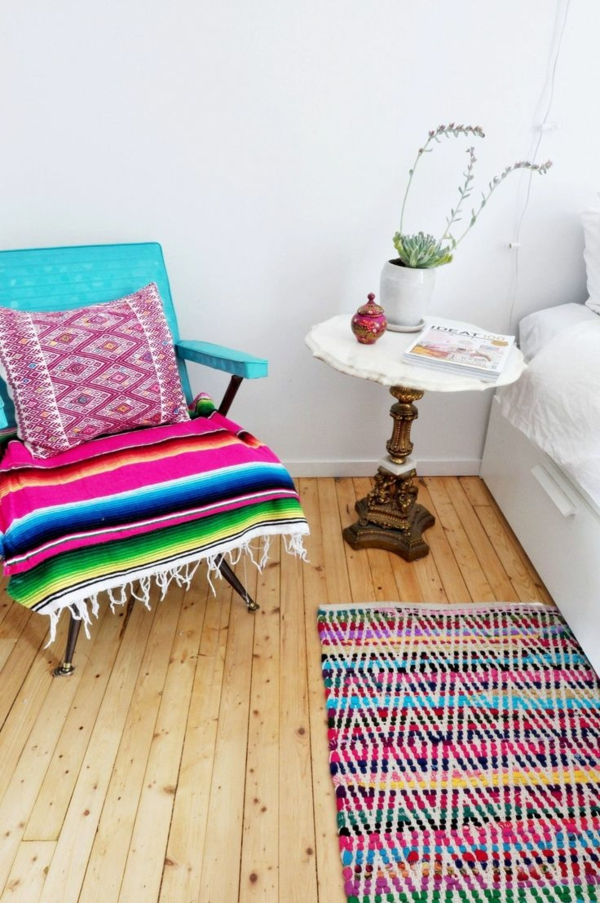 innendesign mexikanische deko ideen bettvorleger