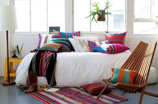 innendesign mexikanische deko ideen farben muster deko kissen