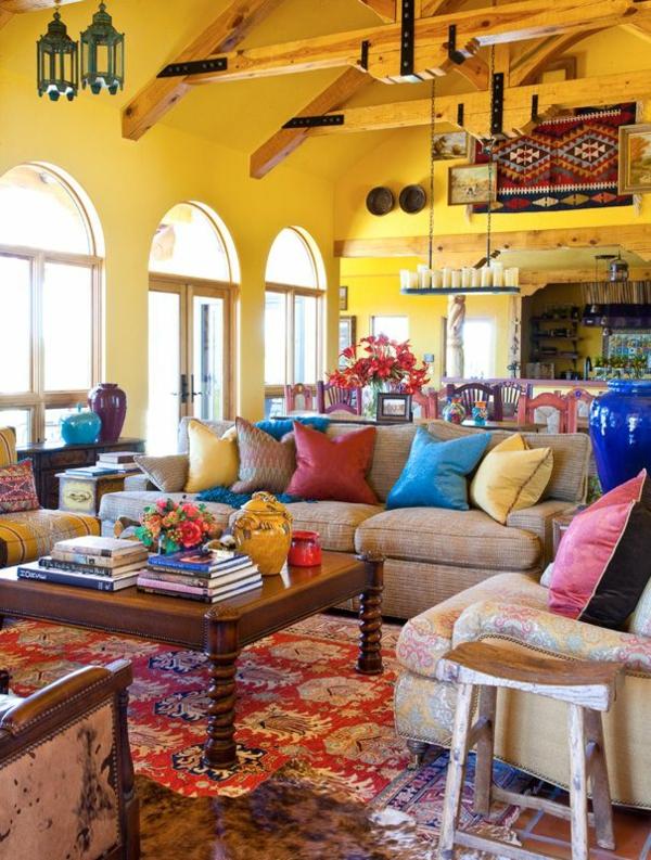 interieur design mexikanische deko wandfarbe gelb