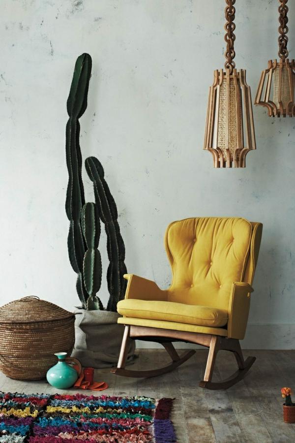 design mexikanische deko zimmerpflanzen kakteenarten sessel gelb