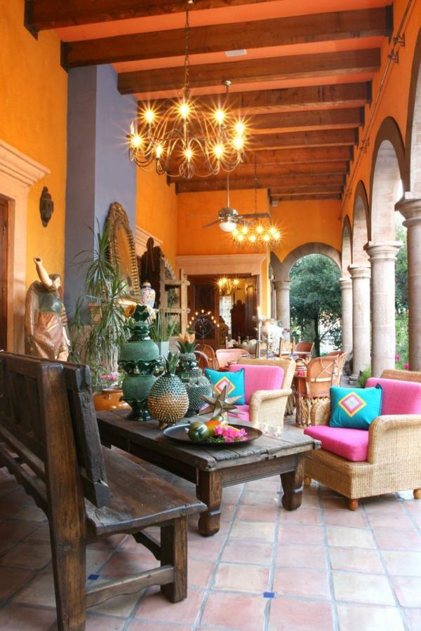 interior design mexikanische terassengestaltung wandfarbe orange