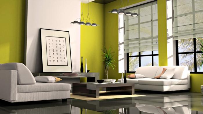 japanische deko wohnzimmer im japanischen stil wandfarbe grün