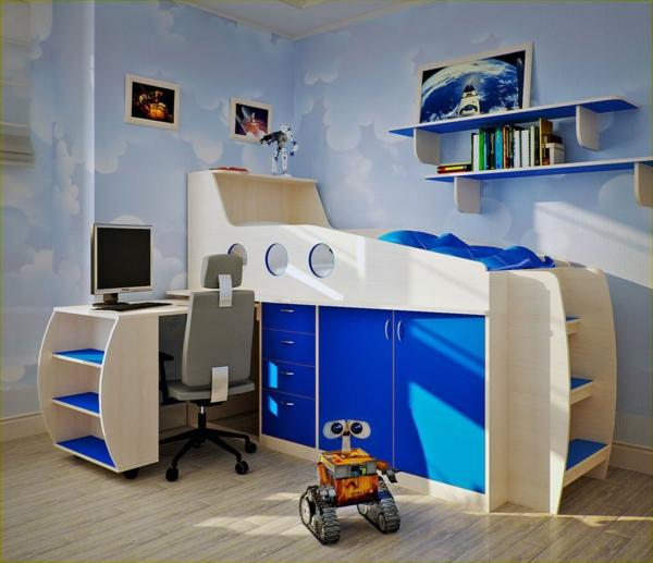 jungenzimmer gestalten funktionales hochbett offene wandregale