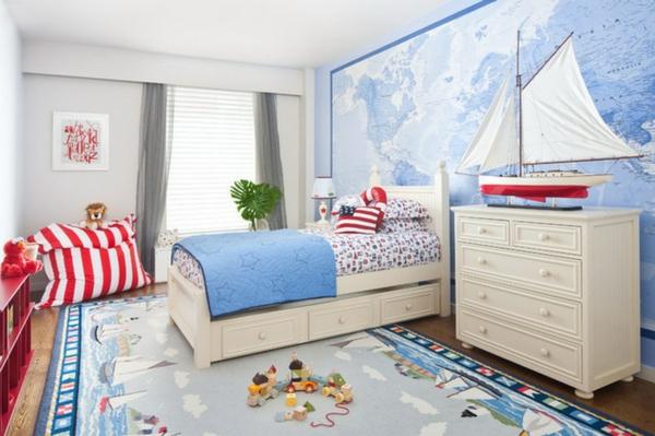 jungenzimmer gestalten nautische thematik teppich weltmappe wand