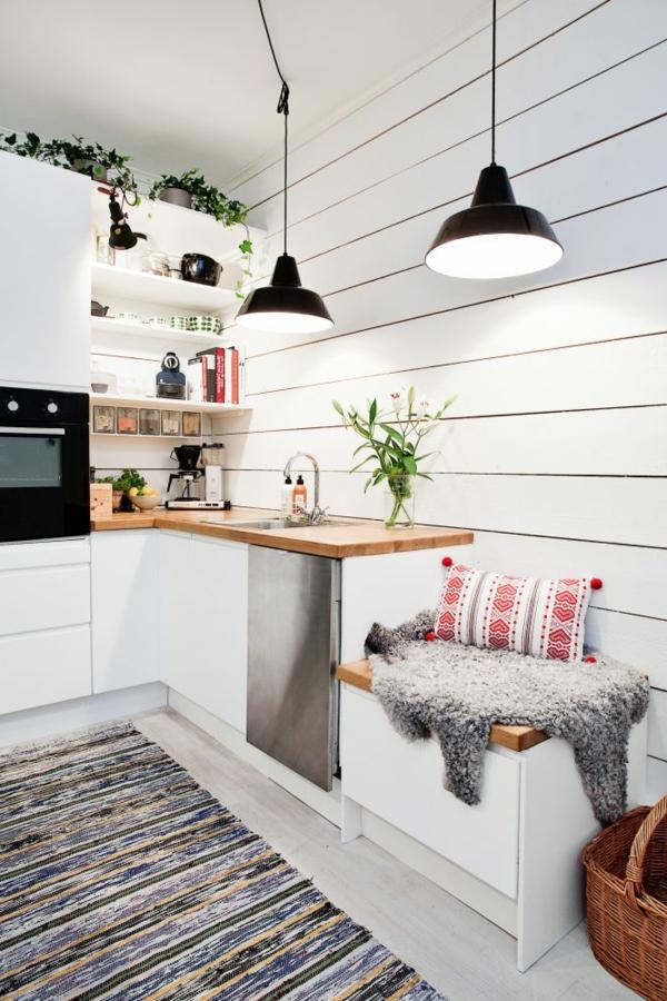 küchenideen kleine küche teppichläufer pflanzen