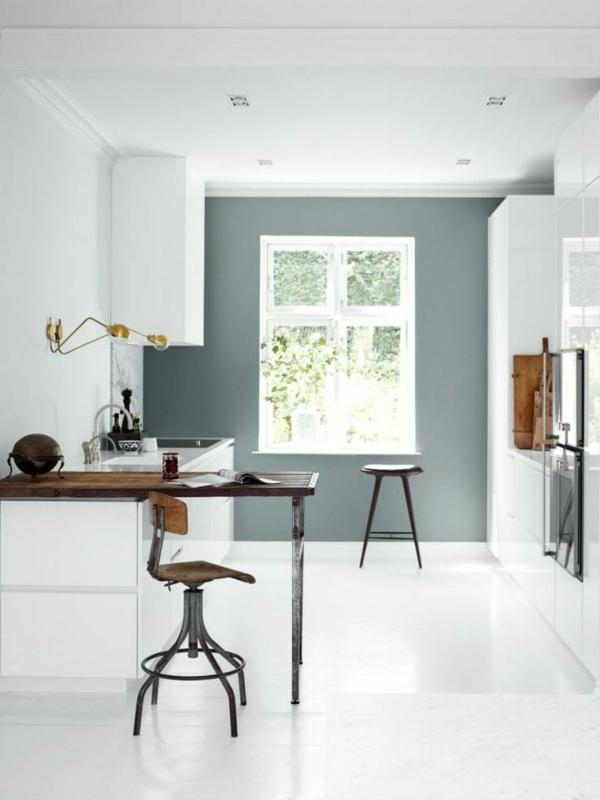 küchenideen moderne küche weiß grün wandlampen