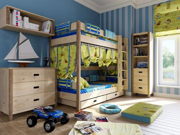 Kinderzimmer Gestalten Jungen Holzboden Spielzeuge