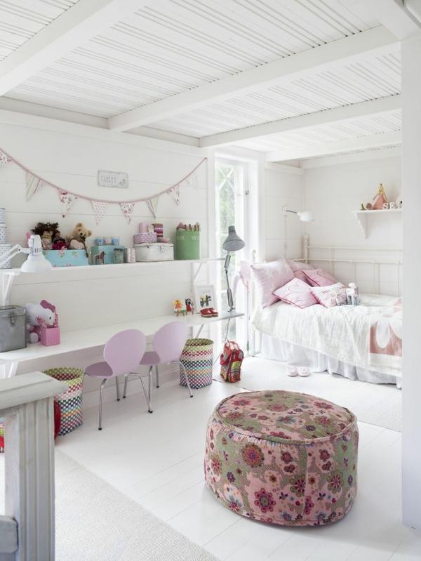 kinderzimmer gestalten mädchenzimmer hocker weißes ambiente