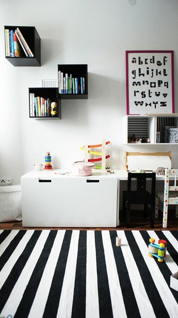 kinderzimmer gestalten teppich streifen weiß schwarz