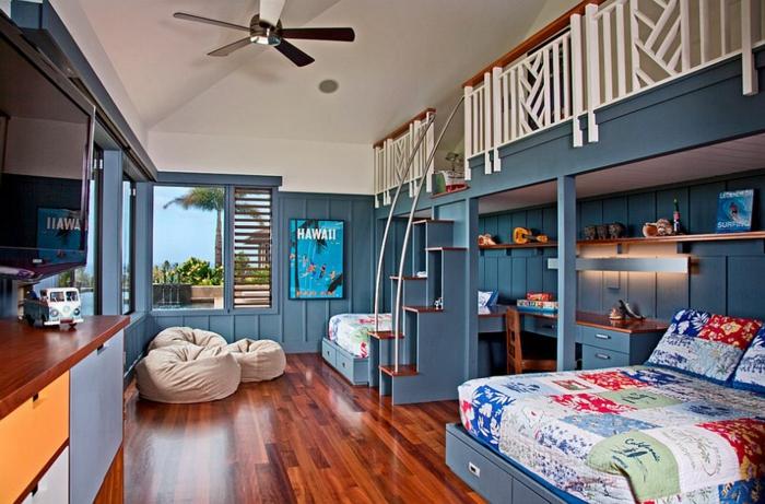 kinderzimmer gestalten tropischer stil einrichtungsideen wandfarbe blau