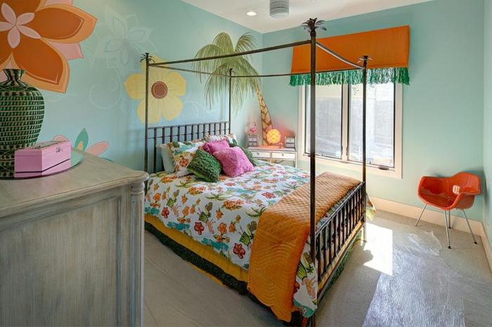 kinderzimmer gestalten tropischer stil frische farbgestaltung
