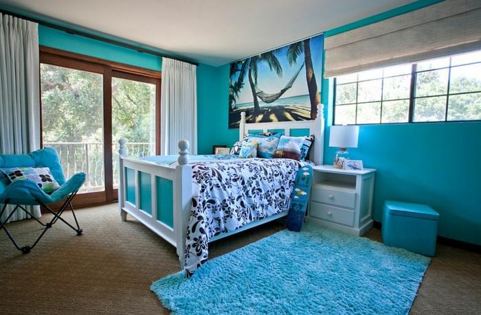 kinderzimmer gestalten tropischer stil hauptfarbe meerblau