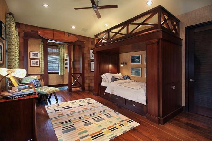 kinderzimmer gestalten tropischer stil holzmöbel etagenbett