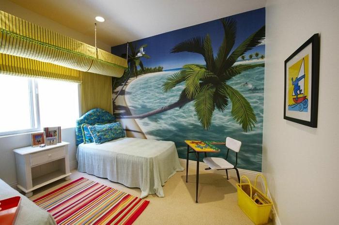 kinderzimmer gestalten tropischer stil palme fototapeten