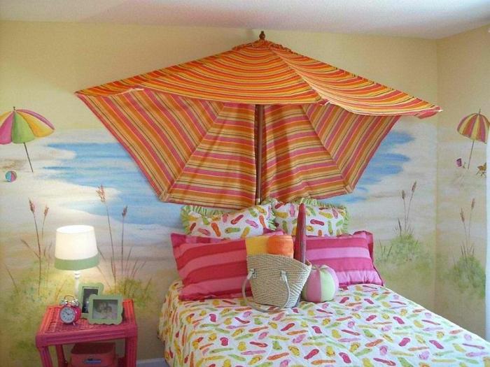 kinderzimmer gestalten tropischer stil sonnenschirm