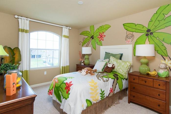 kinderzimmer gestalten tropischer stil wandtattoo palme affe