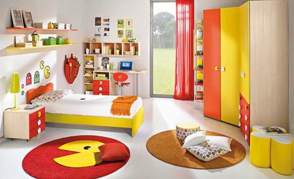 kinderzimmergestaltung eckkleiderschrank runde teppiche lustig grelle farben