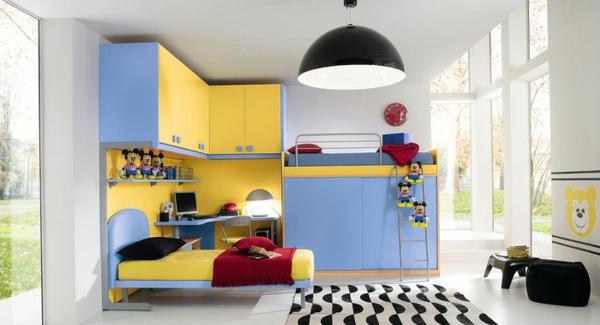 kinderzimmergestaltung farbige einrichtung blau gelb