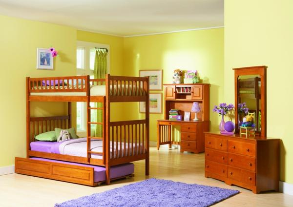 kinderzimmergestaltung hochbett teppich spiegel