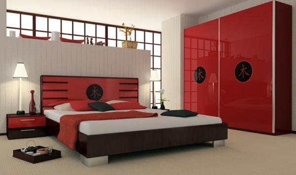komplettes schlafzimmer japanischer stil niedriges bett