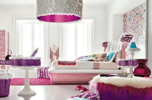 komplettes schlafzimmer mädchenhaft rosa lila