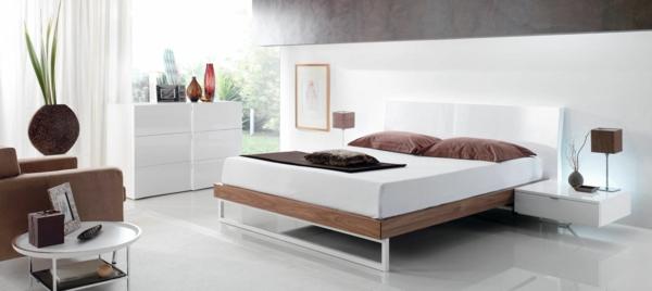 komplettes schlafzimmer minimalistisch hochglanz weiße nachttische