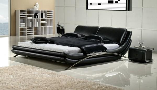 komplettes schlafzimmer schwarzleder bett kompakte nachttische