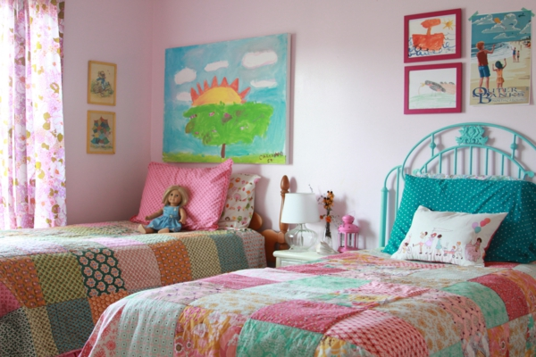 mädchenzimmer einrichten farbige bettwäsche bilder