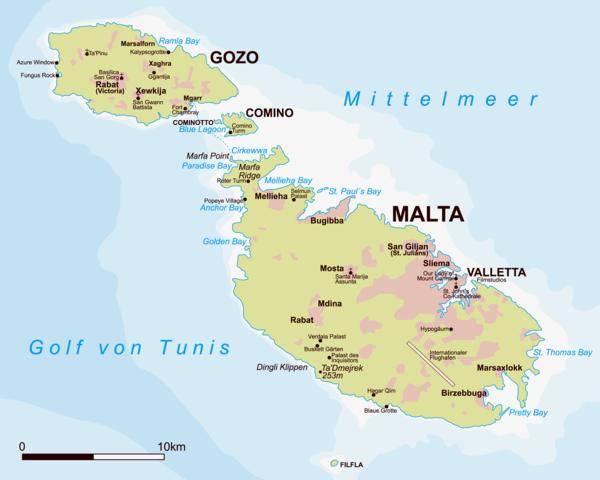 malta urlaub geografische karte landkarte