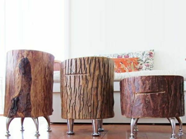massivholz Baumstamm tisch füßchen