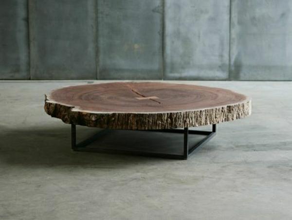 massivholz baumstamm tisch metall