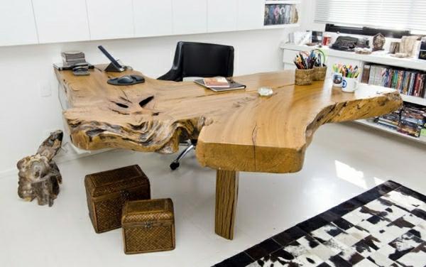 Rustikaler Schreibtisch baumstamm tisch der eyecatcher im rustikalen wohnzimmer