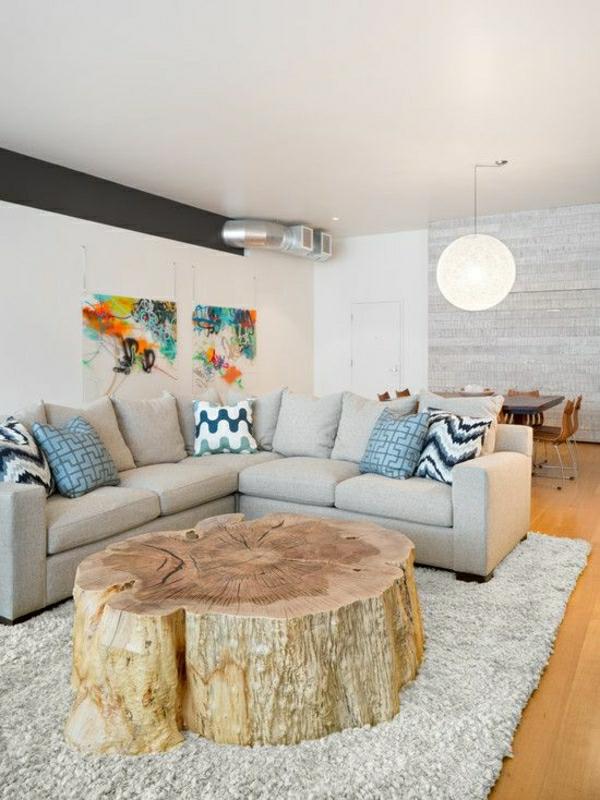 massivholz möbel wohnzimmer Baumstamm tisch sofa