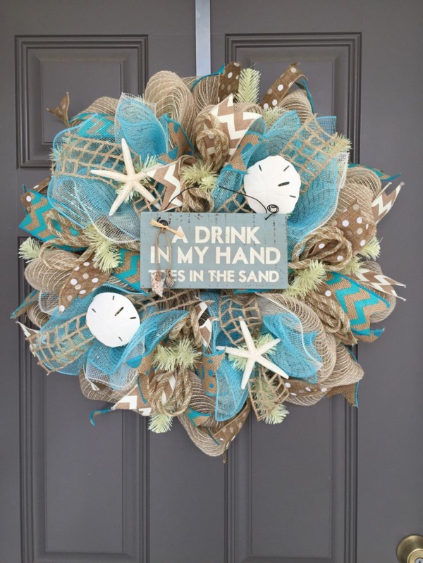 how to make a burlap door wreath maritime deko ideen laden das meer nach hause ein diy st. Black Bedroom Furniture Sets. Home Design Ideas