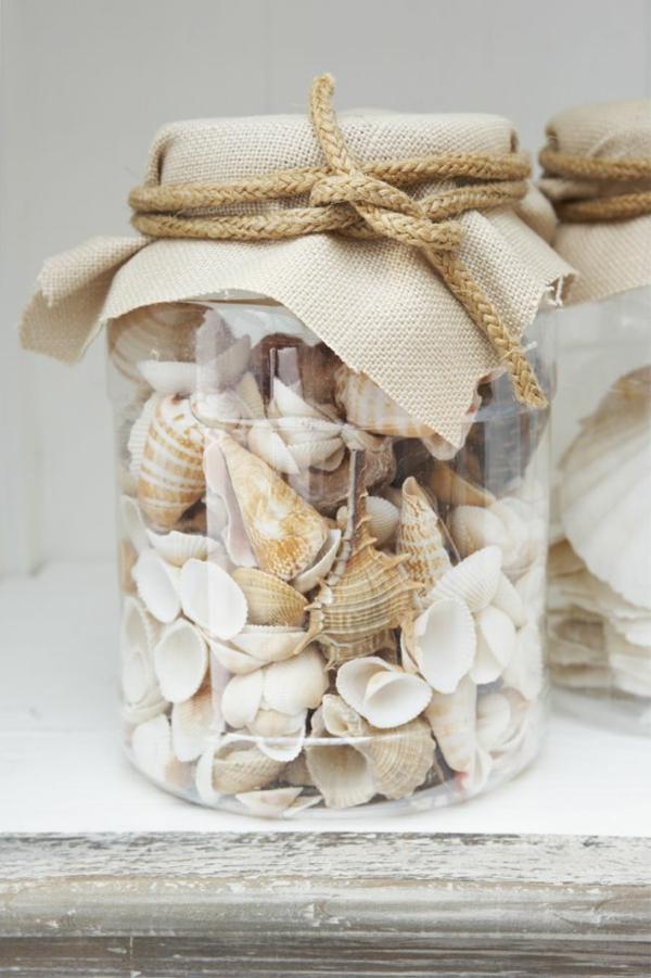 deko meer maritime glas mit muscheln rustikale ideen