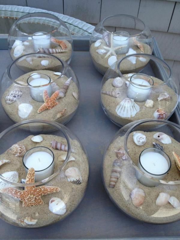 deko meer maritime glasspären mit muscheln sand kerzen