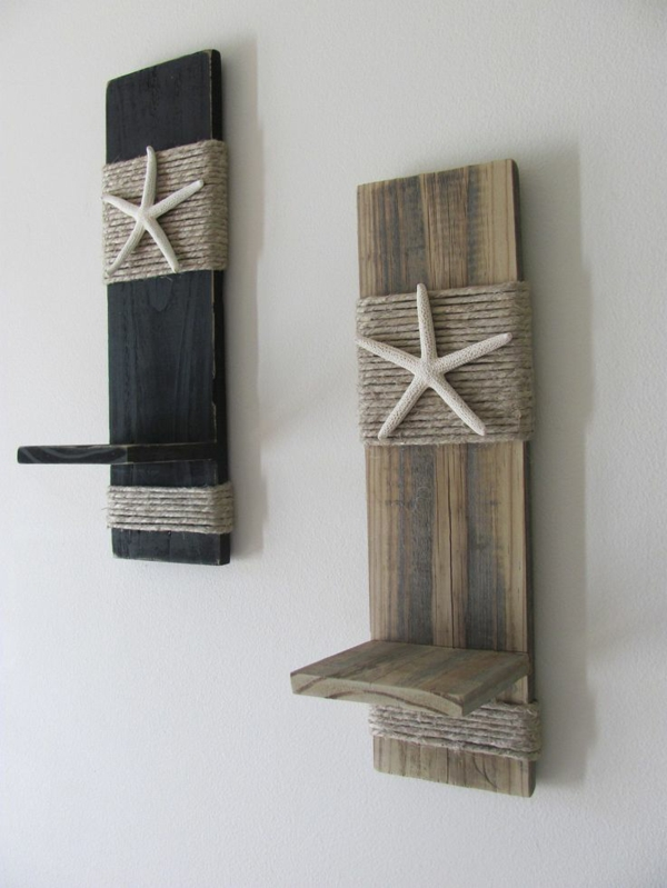 Pallet wall mounted candle holders - Maritime Deko Ideen Laden Das Meer Nach Hause Ein